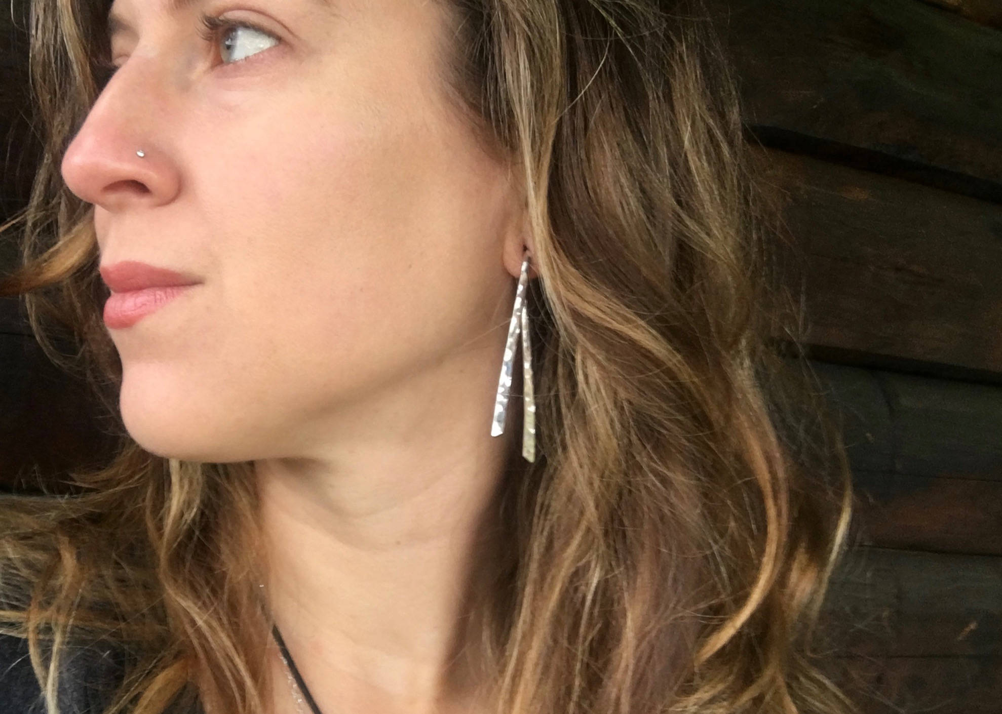 Dangle Gauged Earrings Hammered Finish