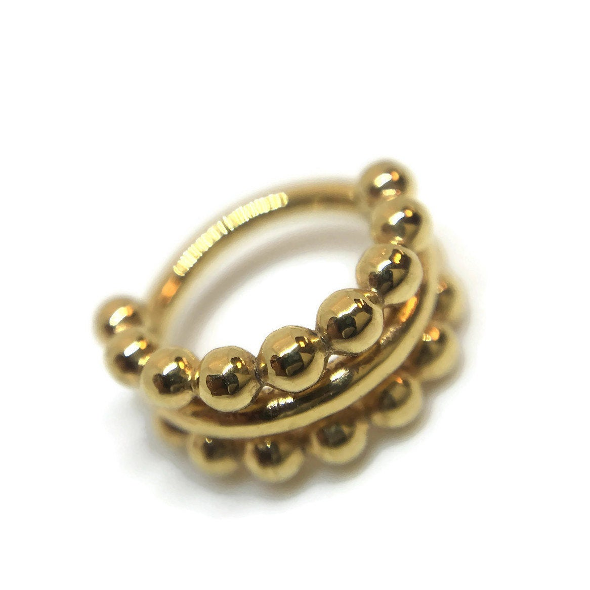 Yellow Gold Triple Beaded Straight Stacked Septum Ring