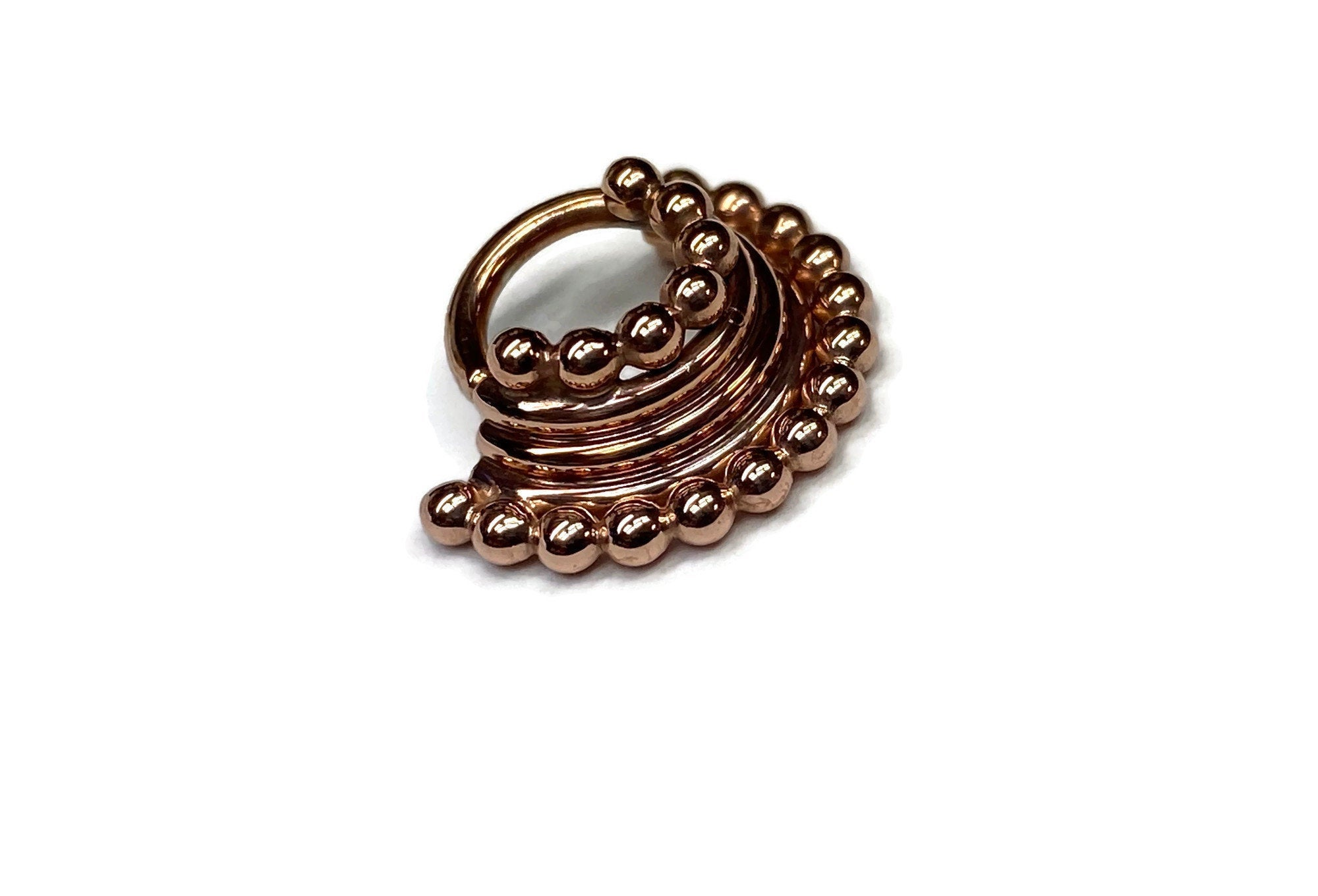 Rose Gold Quad Stacked Beaded Septum Ring – Piercing – Hoop – Conch – Helix – Cartilage – Pink Gold Dipped Sterling Silver