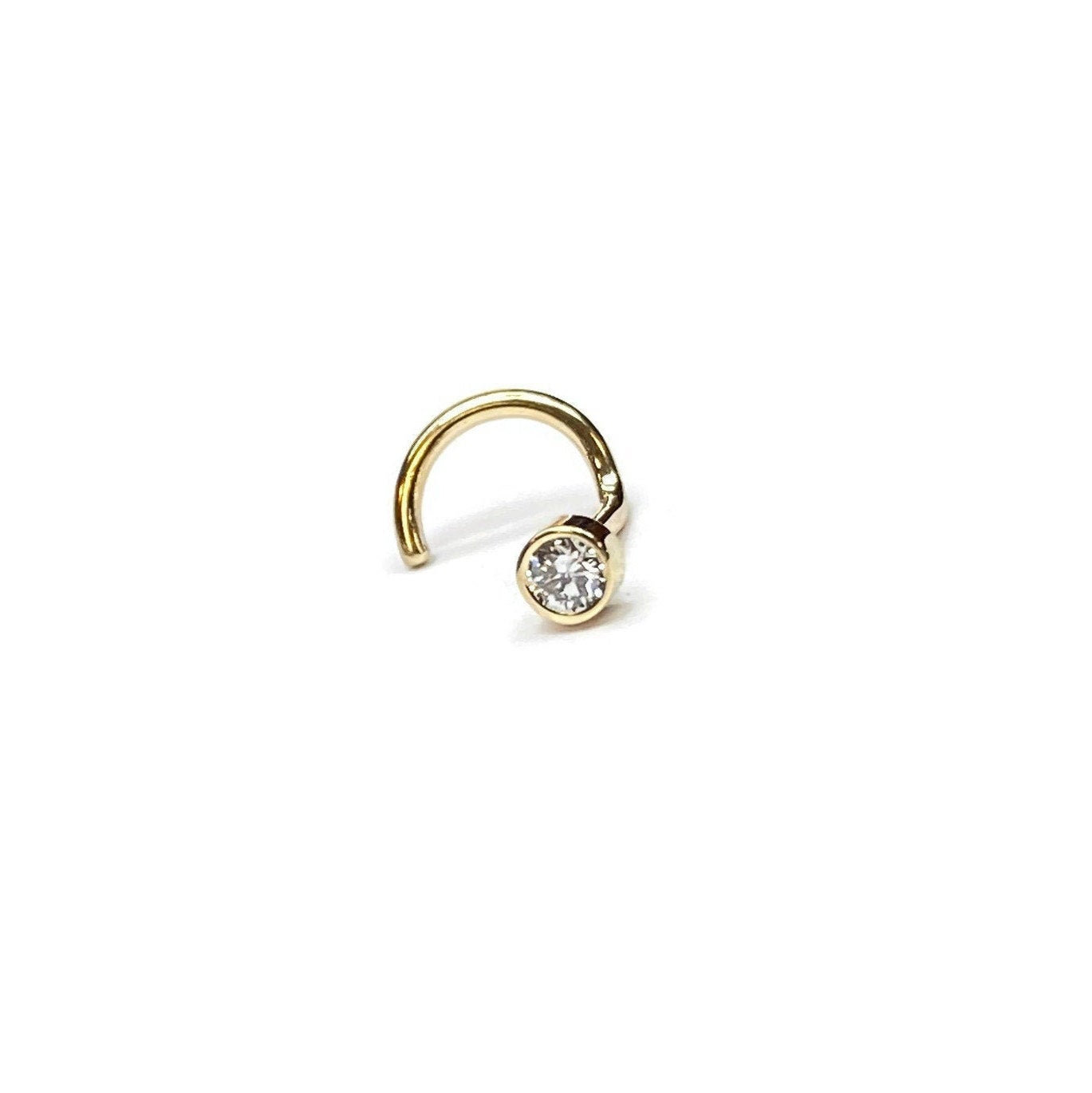 Genuine Diamond Nose Stud in Solid 14 Karat Yellow Gold